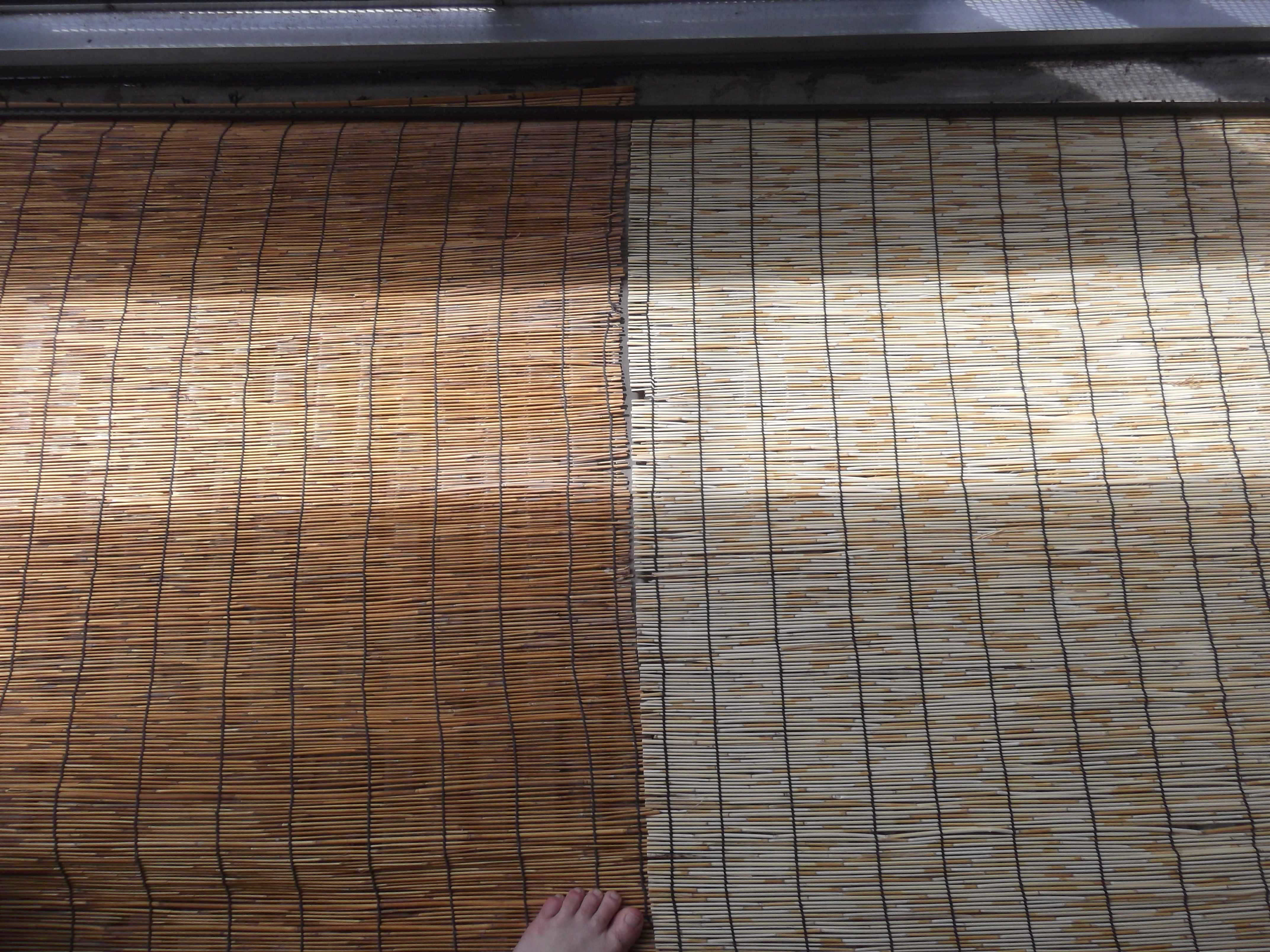 """""""すだれ""""方式-エアコン室外機の日よけ対策-""""Bamboo blind""""-Method-Air Conditioner Outdoor unit Sun Protection"""